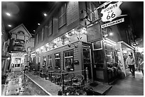 Route 66 restaurant at night. Bar Harbor, Maine, USA (black and white)