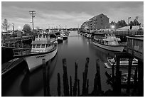 Harbor at dawn. Portland, Maine, USA ( black and white)