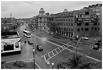Street seen from above, dawn. Portland, Maine, USA ( black and white)