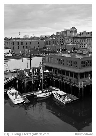 Boats, harbor, and historic buildings. Portland, Maine, USA (black and white)