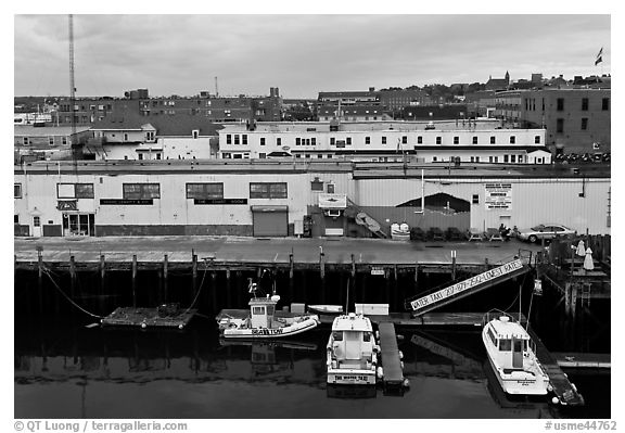 Boats and piers. Portland, Maine, USA (black and white)