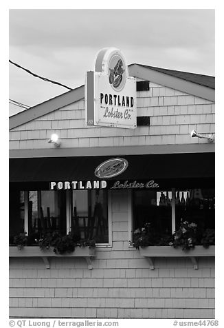Lobster restaurant. Portland, Maine, USA (black and white)