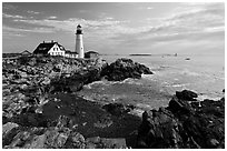 Portland Head Lighthouse, early morning. Portland, Maine, USA ( black and white)