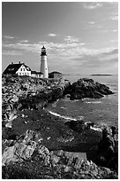 Portland Headlight, Cape Elizabeth. Portland, Maine, USA ( black and white)