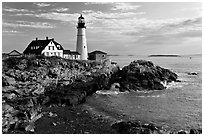 Portland Head Light Station. Portland, Maine, USA ( black and white)