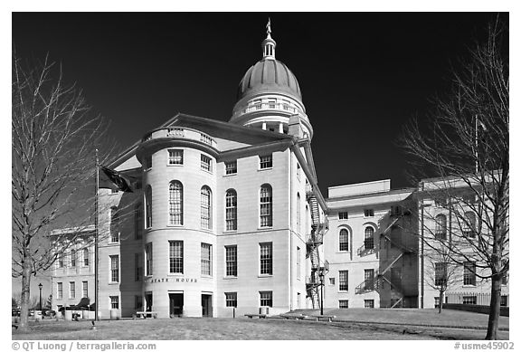 Maine Capitol. Augusta, Maine, USA (black and white)