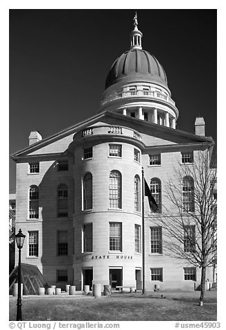 Maine State House. Augusta, Maine, USA (black and white)
