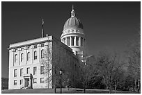 State Capitol of Maine. Augusta, Maine, USA (black and white)