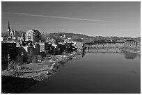 Kennebec River. Augusta, Maine, USA ( black and white)
