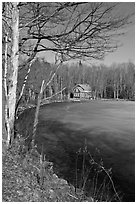 House by frozen lake. Maine, USA (black and white)