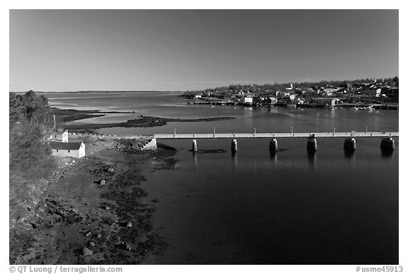 Belfast at the mouth of Passagassawakeag River. Maine, USA (black and white)