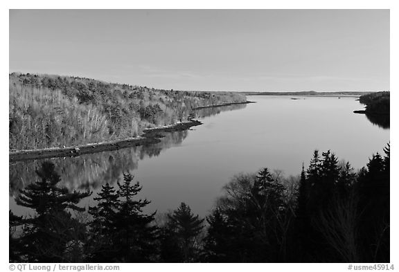 Penobscot River. Maine, USA (black and white)