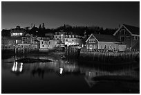 Harbor by night. Stonington, Maine, USA ( black and white)