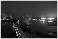 Lobster shack by night. Stonington, Maine, USA ( black and white)