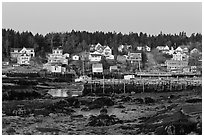 Harbor at low tide, dawn. Stonington, Maine, USA (black and white)