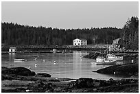 Harbor, dawn. Stonington, Maine, USA ( black and white)