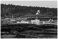 Fishing boats and forest. Stonington, Maine, USA ( black and white)