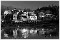 Waterfront reflections. Stonington, Maine, USA ( black and white)
