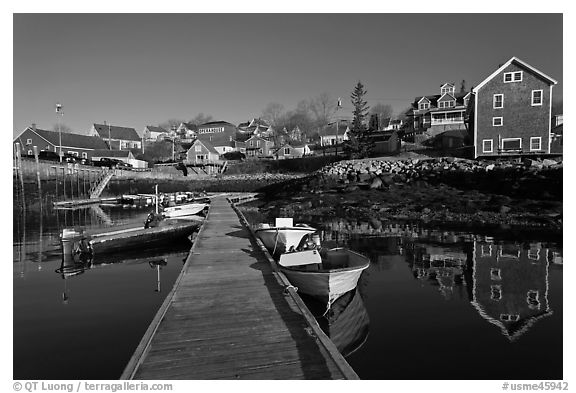 Calm harbor, early morning. Stonington, Maine, USA (black and white)