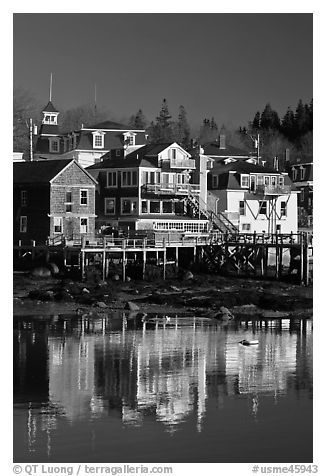 Houses and reflections. Stonington, Maine, USA (black and white)