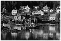 Fishing boats and houses. Stonington, Maine, USA ( black and white)