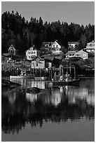 Harbor and houses, morning. Stonington, Maine, USA ( black and white)