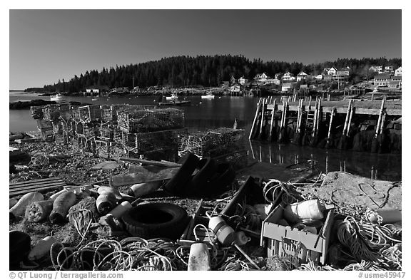 Fishing gear and harbor. Stonington, Maine, USA