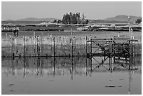 Water fence and islets. Stonington, Maine, USA (black and white)