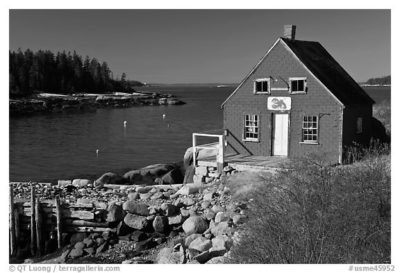 Red lobster shack. Stonington, Maine, USA (black and white)