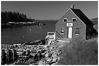 Red lobster shack. Stonington, Maine, USA ( black and white)