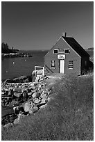 Lobstering shack. Stonington, Maine, USA ( black and white)