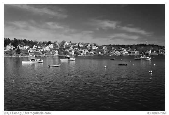 Village and harbor. Stonington, Maine, USA (black and white)