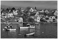 Lobstering boats and houses. Stonington, Maine, USA (black and white)