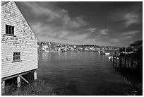 Lobstering village. Stonington, Maine, USA ( black and white)