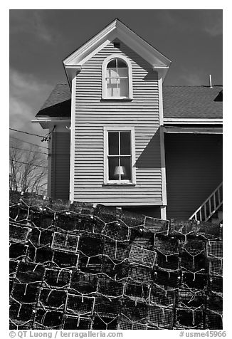 Lobster traps and house. Stonington, Maine, USA (black and white)