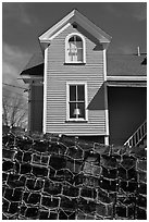 Lobster traps and house. Stonington, Maine, USA ( black and white)