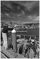 Commercial lobstermen. Stonington, Maine, USA (black and white)