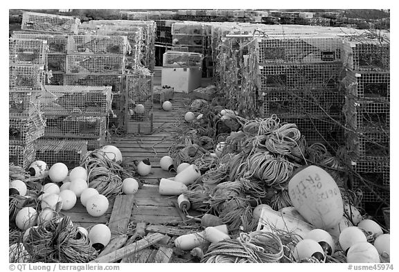 Buoys and lobster traps. Corea, Maine, USA (black and white)