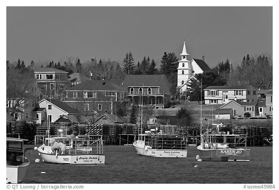 Lobster fleet and traditional village. Corea, Maine, USA (black and white)