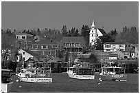 Lobster fleet and traditional village. Corea, Maine, USA ( black and white)