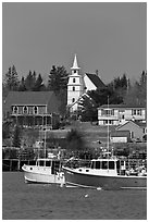 Lobster boats and village church. Corea, Maine, USA ( black and white)