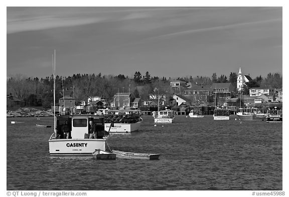 Traditional lobster fishing harbor. Corea, Maine, USA (black and white)