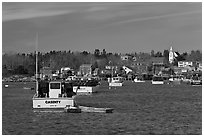 Traditional lobster fishing harbor. Corea, Maine, USA ( black and white)