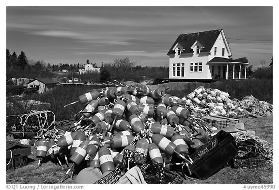 Buoys and house. Corea, Maine, USA (black and white)