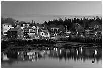 Harbor waterfront at dawn. Stonington, Maine, USA ( black and white)
