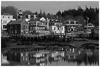Main village waterfont at dawn. Stonington, Maine, USA ( black and white)