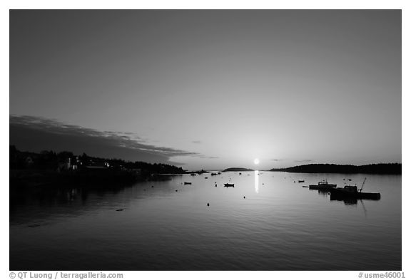 Sunrise. Stonington, Maine, USA (black and white)