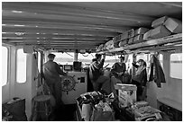 Aboard Isle-au-Haut mailboat. Isle Au Haut, Maine, USA (black and white)