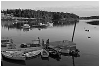 Harbor, early morning. Isle Au Haut, Maine, USA ( black and white)