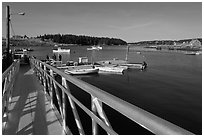 Ramp and harbor. Isle Au Haut, Maine, USA (black and white)